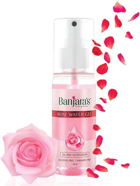 Banjara's Rose Water Gel 100ml| Oil Free Makeup Setting & Hydrating Spray Mist with Rose petal Extracts | Clears Impurities, maintains skin pH levels, Helps tighten pores & Reduces Skin Irritation | Paraben & Alcohol-Free, Natural & Vegan| For Skin, Face and Aromatherapy with Fresh rose Scent. (Pack of 1)