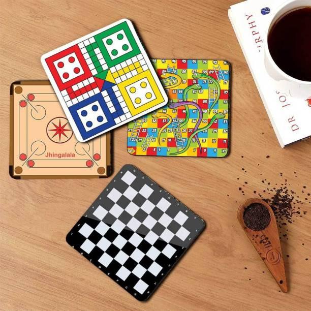 Jhingalala Square Wood Coaster Set