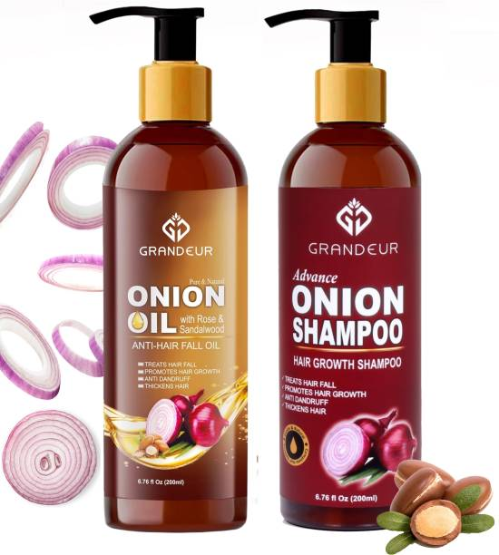 Grandeur Onion Oil for Hair Fall And Onion Shampoo For Hair Growth With Red onion Extract And Essential Ingredients | Dandruff Control | Hair Thickening | Healthy Scalp | 200ml Each
