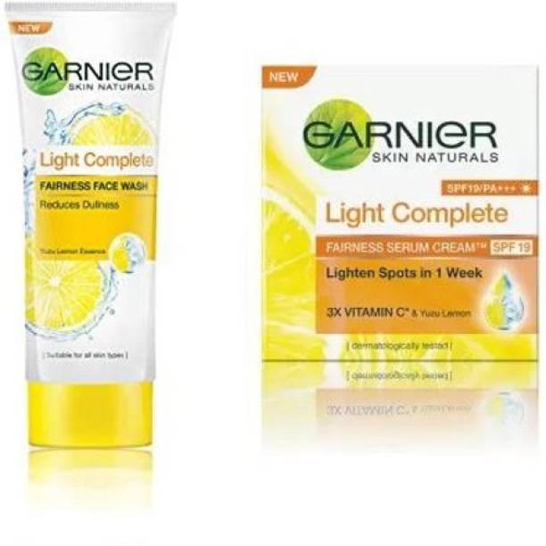 GARNIER Skin Naturals Light Complete Se;rum Cream SPF 19 & face wash