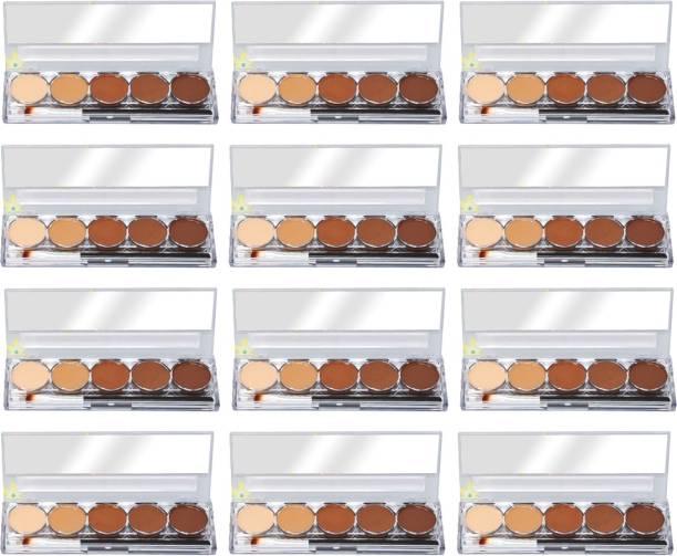 Kiss Beauty 24HR Long Lasting Contour Palette, 9747, Nude 02, 16g with Lilium Aloevera Cream Concealer