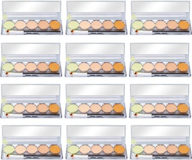 Kiss Beauty 24HR Long Lasting Contour Palette, 9747, Nude 01, 16g with Lilium Aloevera Cream Concealer