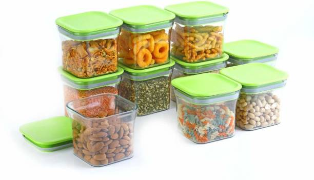 Solomon ™ Premium Quality Unbreakable Airtight Transparent Jar   Grocery Container   Storage Container   Container sets   Storage Jar   Containers Combo   Masala Boxes   Freezer Safe Idle for Kitchen Storage Box   Container For Tea, Coffee, Sugar, Food, Grain, Rice, Pasta, Pulses, Spices Container Set - 600 ml Plastic Grocery Container (Pack of 10, Green)  - 600 Plastic Grocery Container