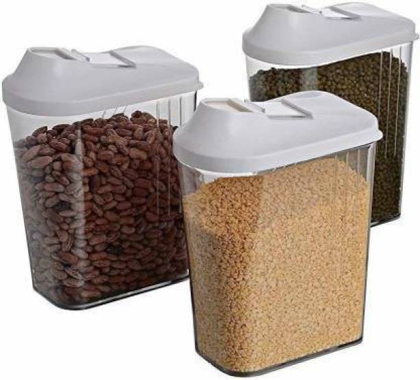 Solomon ™ Premium Quality (Quality Improved) Transparent Jar | Grocery Container | Storage Container | Container sets | Storage Jar | Containers Combo | Masala Boxes | Container For Tea, Coffee, Sugar, Food, Grain, Rice, Pasta, Pulses, Spices Container Set, 1100 ml Plastic Grocery Container  - 1100 Plastic Tea Coffee & Sugar Container