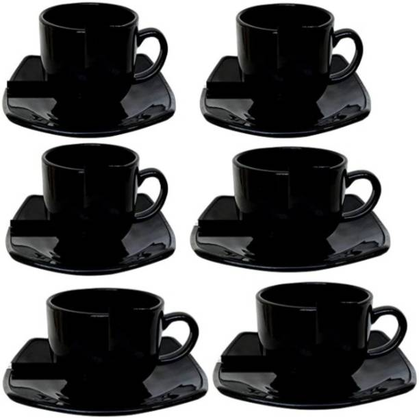 MDNSHO Pack of 12 Bone China (Pack of 12) Bp bharat Fine Bone China Full Black Tea Cup and Saucer , 180Ml