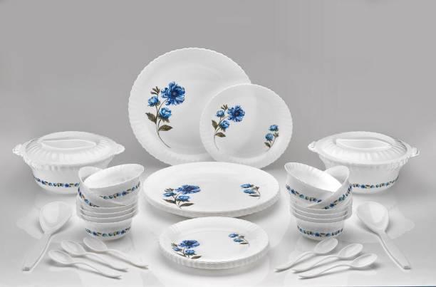 VARASANI TRADERS Pack of 36 Plastic Multipurpose, Exclusive and Microwave Safe Plastic Dinner Set for Kitchen-36 Pcs (Full Plate - 06, Half Plate - 06, Veg Bowl -12, Serving Bowl - 02, Serving Spoon-02, Serving Bowl Lid - 02, Spoon - 06) Dinner Set