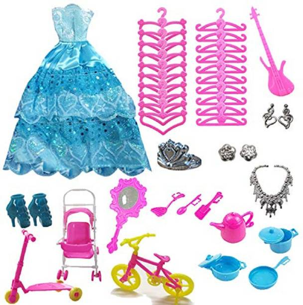 Giftshotspot Toy Doll Accessories (1 Doll Dress & 37 Accessories) Compatible with Barbie