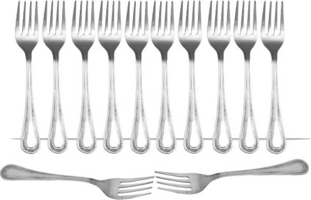 KITCHENCAFE Premium Quality Stainless Steel 12 Fork Spoon Set Disposable Stainless Steel Dinner Fork Set
