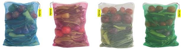 AARADHYA Multi-purpose Vegetables Fruits Mesh Fridge Storage Washable Zip Bags, Grocery Bags (Multicolor) Pack of 4 Grocery Bags