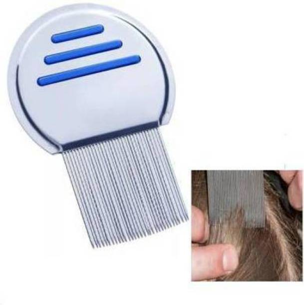 Frackson Stainless Steel Comb for Head Lice, Nit & Egg Removal with Long Fine Metal Teeth Brush-School kids & Women