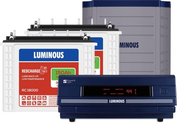 LUMINOUS PowerX 2250 with 2 RC18000 with Trolley TX200L Tubular Inverter Battery