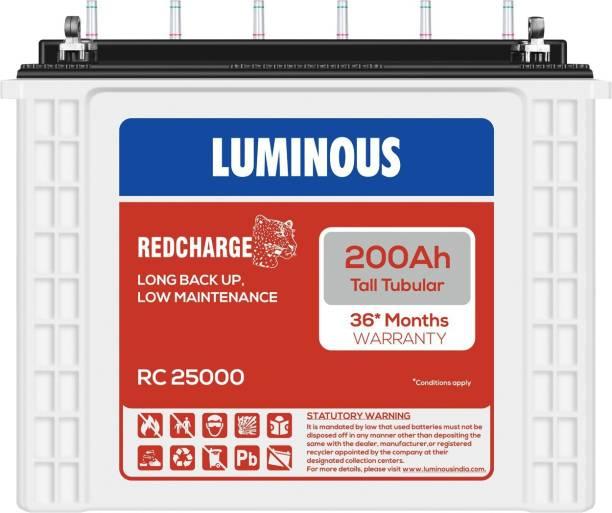 LUMINOUS RedCharge RC25000 200Ah Tall Tubular Battery Tubular Inverter Battery