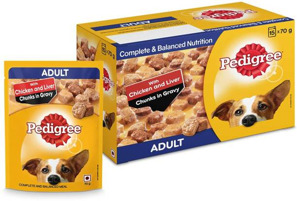 PEDIGREE Adult Gravy Food Chicken, Liver 1.05 kg (15x0.07 kg) Wet Adult Dog Food