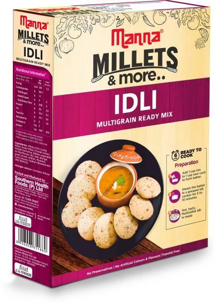 Manna Instant Millet Idli Ready Mix   Idli Batter   Serves 4 - 100% Natural Ingredients - No Preservatives   No artificial colours, flavours or additives. Made with Foxtail Millet, Kodo Millet, Little Millet 180 g