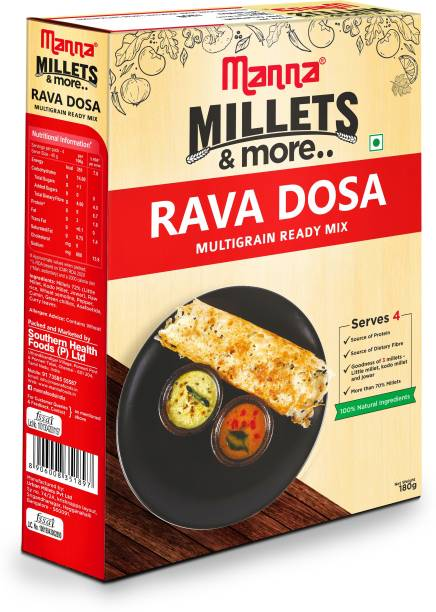 Manna Instant Multigrain Rava Dosa Ready Mix   Rava Dosa Batter   Serves 4   100% Natural Ingredients 180 g