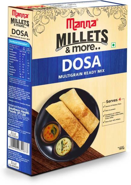 Manna Instant Multigrain Millet Dosa Ready Mix   Dosa Batter   Serves 4   100% Natural Ingredients   Made with Foxtail Millet, Little Millet & Kodo Millet   180g 180 g