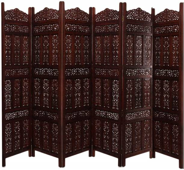 Decorhand Handcrafted 6 Panel Wooden Room Partition & Room Divider (Brown) Solid Wood Decorative Screen Partition Solid Wood Decorative Screen Partition