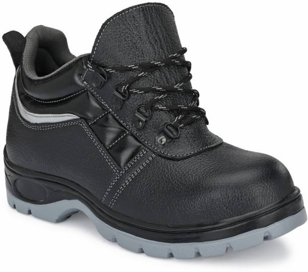 Ozarro Black Leather Steel Toe Safety Shoes (S4421) Steel Toe Genuine Leather Safety Shoe
