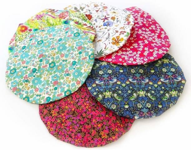 Deriz peck of 6 Ladies Shower Cap Multicolor Waterproof Elastic Band Plastic Reusable Shower Caps for Women's
