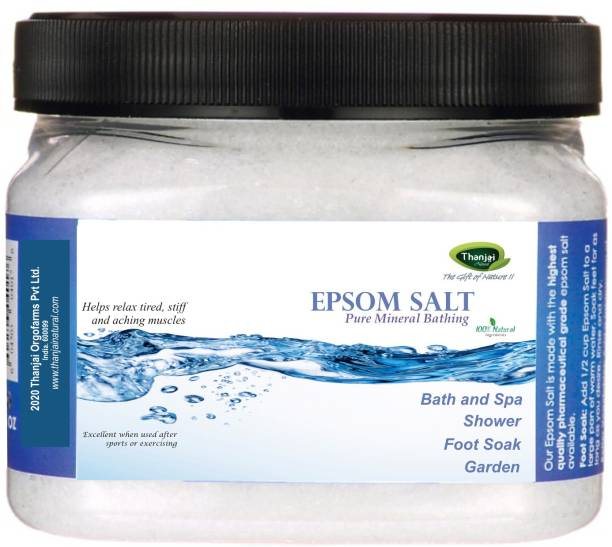 THANJAI NATURAL Epsom Bath Salt 1kg Jar For Relaxation Muscle Relief | Relives Aches & Pain | Bath and Feet Soak | Plant Growth | For Green Gardens