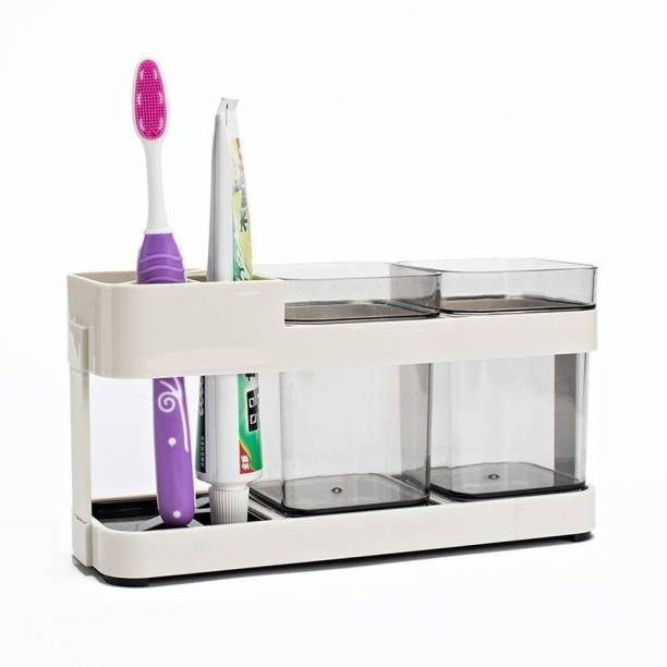 Philocaly Enterprise 2 Cup Creative Slot Multi Function Toothbrush Toothpaste Plastic Stand Holder Space Saving Bathroom Storage Organizer Plastic Toothbrush Holder Plastic, Acrylic Toothbrush Holder