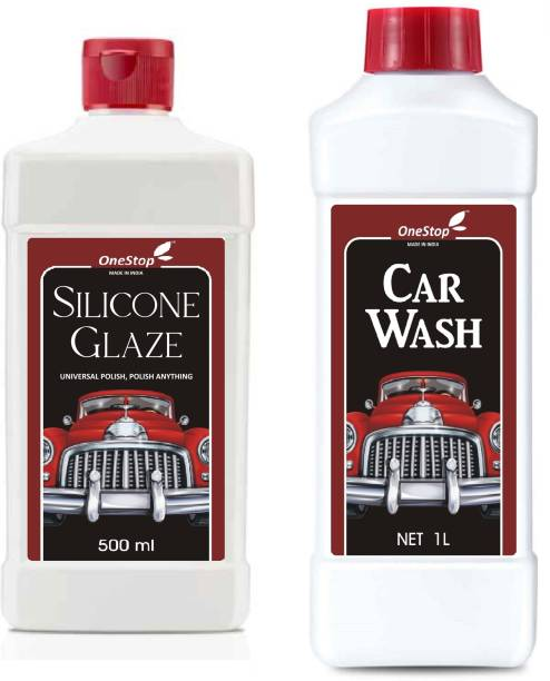 ONESTOP HOME Car Wash (1L) Silicone Polish Gel (500ml) Super Saver Combo Pack Car Washing Liquid