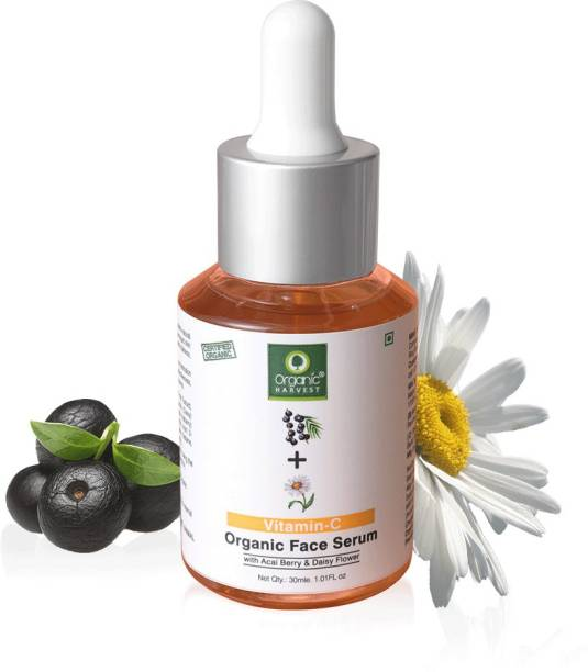 Organic Harvest Skin Illuminate Vitamin C Face Serum for Radiant & Glowing Skin, Infused with Acai Berry & Daisy Flower, Ideal for Brightening & Whitening, 100% Organic, Paraben & Sulphate Free