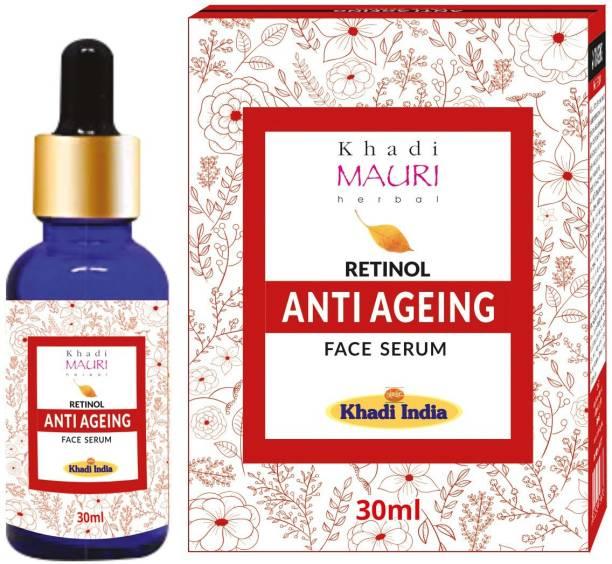 Khadi Mauri Herbal Anti Ageing Retinol Face Serum, Enriched with Hyaluronic Acid & Vitamin C, Removes Wrinkles & Blemishes, 30 ml