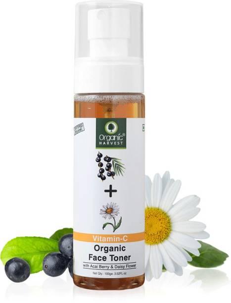 Organic Harvest Skin Illuminate Vitamin C Face Toner for Tightening, Whitening, Brightening & Blemish Free Skin, Infused With Acai Berry and Daisy Flower, 100% Organic, Paraben & Sulphate Free Men & Women