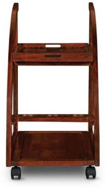 SS Wood Furniture Solid Wood Bar Trolley