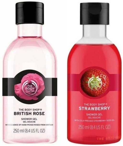 THE BODY SHOP British Rose & Strawberry Shower Gel Each 250ml