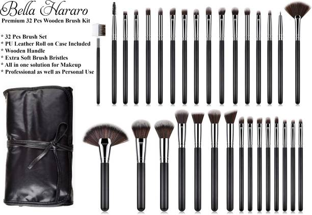BELLA HARARO Super Soft 32 Pcs Wooden Makeup Brush Set With PU Leather Rolling Case