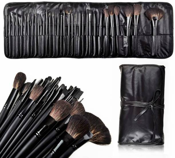BELLA HARARO Soft 32 Pcs Wooden Handle Premium Makeup Brush Set With PU Leather Rolling Case