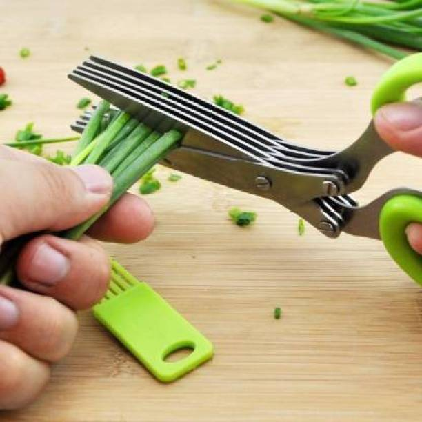 Fabbmate Multipurpose Vegetable Stainless Steel Herbs Scissor Kitchen tool set Multipurpose Herb Scissor Set with 5 Multi Stainless Steel Blades and Safety Cover Time Saving Kitchen Shears Ideal for Cutting Fresh Spring Onion, Herb, Lettuce and Many More Stainless Steel All-Purpose Scissor Stainless Steel All-Purpose Scissor