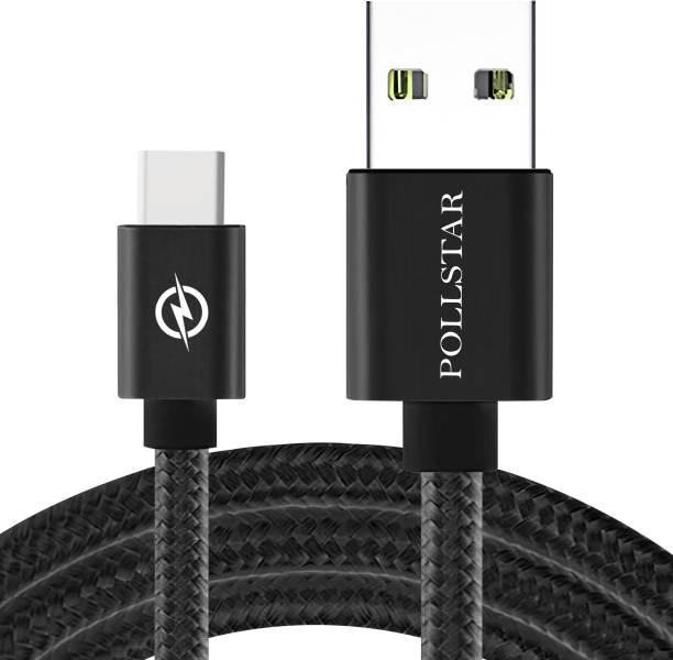 POLLSTAR Type-C, 3AMP, SuperFast Chargingwith Data transfer, Tough Nylon Braided, 6.6 Feet/ 2 m USB Type C Cable