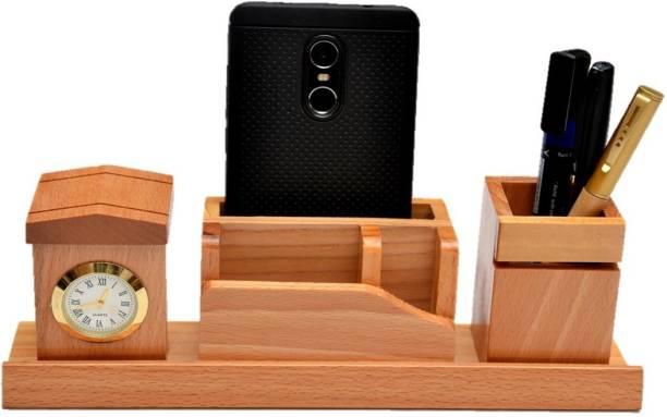 SURYAATC 4 Compartments Wood Desk Organizer