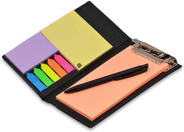PAPERLLA Notepad Memo Holder Desk Organizer with Colorful Sticky Notes Gift Set with Pen (Peach) Pocket-size Diary UNRULED 50 Pages