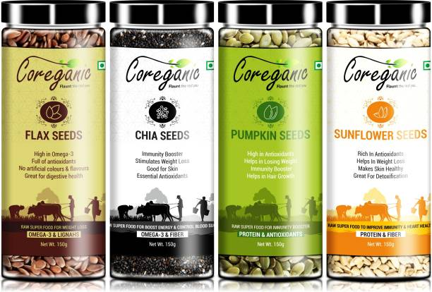 Coreganic Certified Organic Raw Combo Seeds Value Pack (FLax Seed,Chia Seed,Pumpkin Seed & Sunflower Seed)