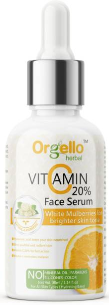 orgello Vitamin C Serum 20% with Hyaluronic Acid, Vitamin B3 for Skin Brightening, Anti-Aging Skin Repair, Supercharged Face Serum, Dark Circle, Fine Line & Sun Damage Corrector, Genuine 20% - (1 x 30ml)