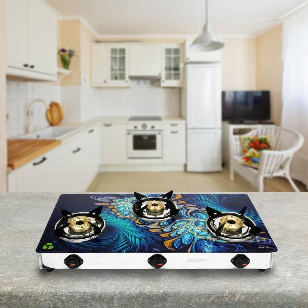 Master Imperio Designer Glass Top 3 Burner Large Stainless Steel, Glass Manual Gas Stove