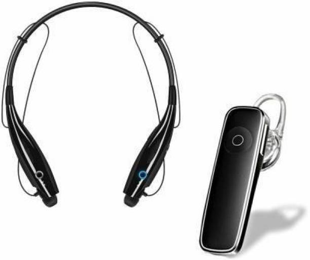 flying india Combo of Wireless Neckband Bluetooth Earphone with P2BT Earphone Bluetooth Headset
