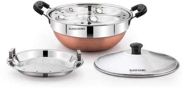 klassi kitchen COPPER BOTTOM 2 IN 1 MULTI KADAI Standard Idli Maker (2 Plates , 8Idlis )1 Steamer Plate Standard Idli Maker
