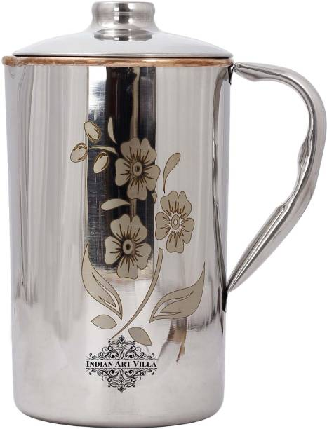 IndianArtVilla 1.5 L Water Steel-Copper Laser Floral Print Jug / Pitcher For Home And Kitchen- Jug
