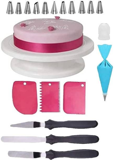 BG cake decorating 6 Combo of Cake Making Turn Table , 12 Steel Nozzles Coupler with Piece Frosting Piping Bag, 3-in-1 Multi-Function Stainless Steel Cake Icing Spatula Knife Set and 3 Pieces of Dough Scrapper | Cake Tools Set – White 19 Pcs Combo Multicolor Kitchen Tool Set (Multicolor) Kitchen Tool Set