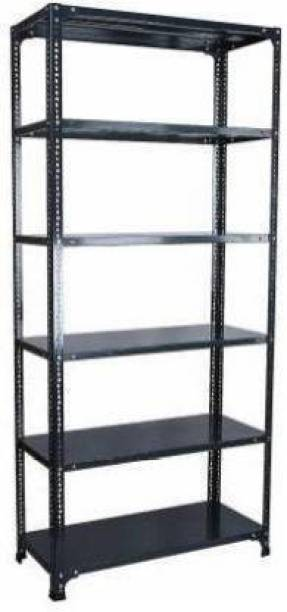 "Premier Steel Slotted Angle Rack CRC Sheet 6 Shelves Multipurpose Storage Rack High Grade painted(DA GREY) Storage Rack, Dimension12""X24""X72'' Luggage Rack"