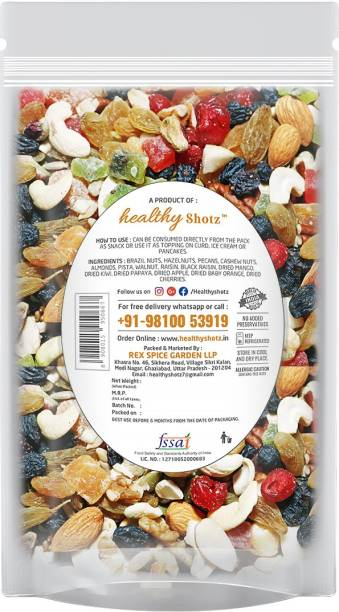 HEALTHY SHOTZ Tropical Fruity Nuts | (140g Each) SMALL STANDY (REFILL) | Healthy and Nutritious Snacks Munch Any Time Crunch