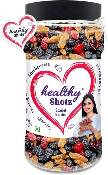 HEALTHY SHOTZ Scarlet Berries | (240g Each) PET BOTTEL | Healthy and Nutritious Snacks Munch Any Time Crunch
