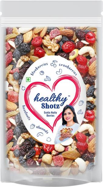 HEALTHY SHOTZ Exotic Nutty Berries Dry Fruits | (250g Each) LARGE STANDY (REFILL) | Healthy and Nutritious Snacks Munch Any Time Crunch