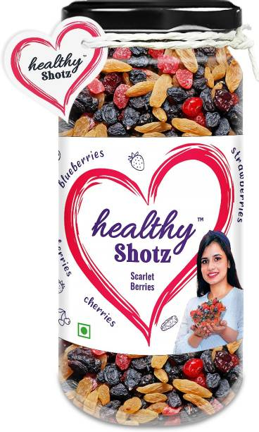 HEALTHY SHOTZ Scarlet Berries | (140g Each) GLASS BOTTEL | Healthy and Nutritious Snacks Munch Any Time Crunch