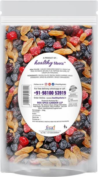 HEALTHY SHOTZ Scarlet Berries | (250g Each) LARGE STANDY (REFILL) | Healthy and Nutritious Snacks Munch Any Time Crunch